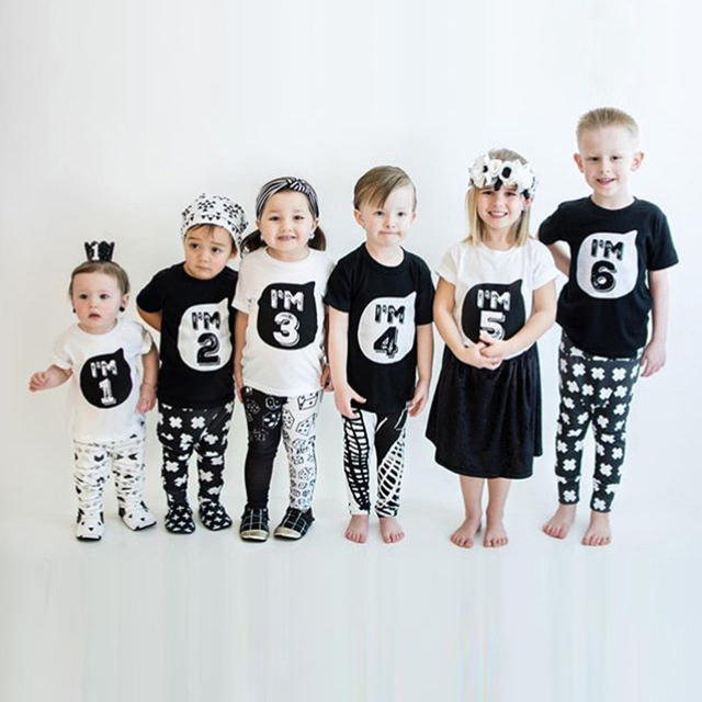 Summer Kids T-Shirts Children's Clothing Boys Girls Cotton Short Sleeve Clothes Cartoon Digital Printed Letter O-Neck Baby Tops