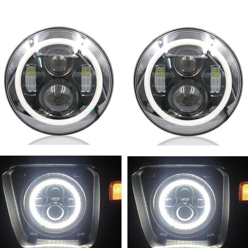 Pair 7 Round Angel Eyes C~REE LED Halo Headlight For Jee P Wrangler JK/TJ/LJ/CJ