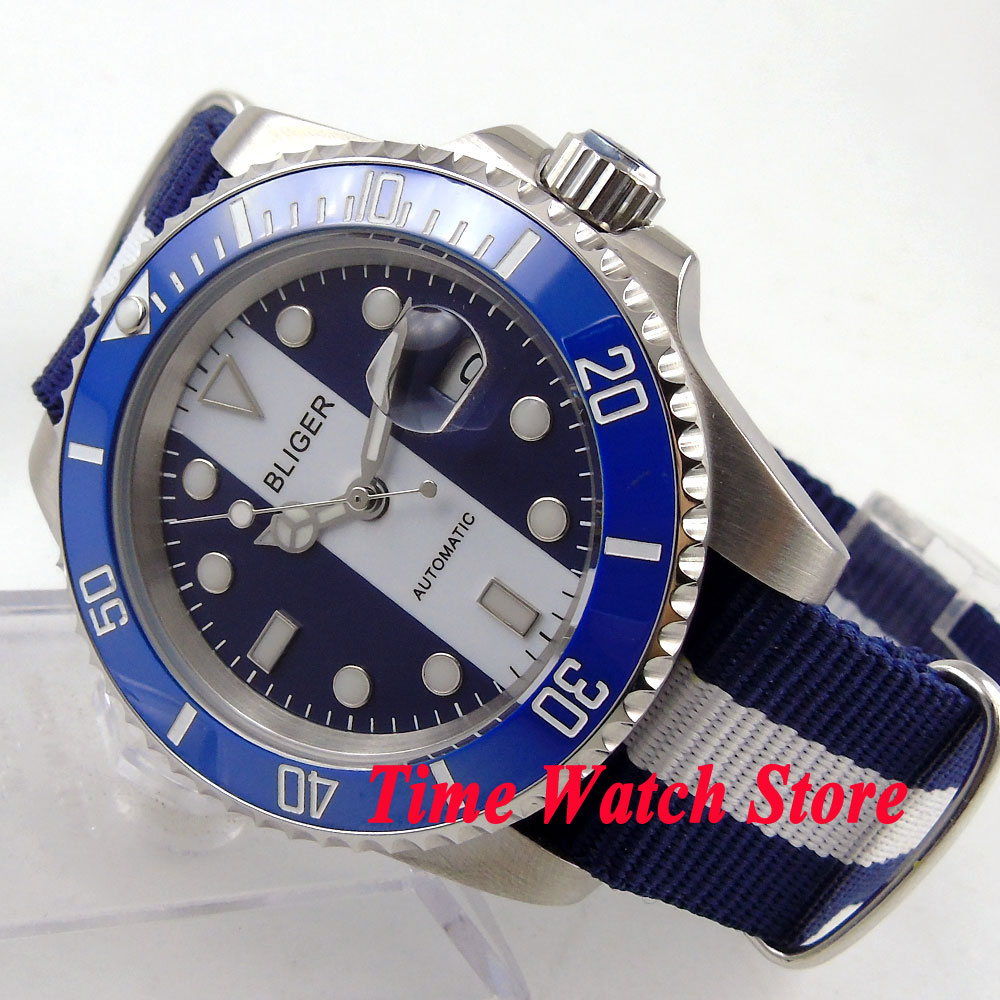 Bliger 40mm blue white dial luminous ceramic bezel Automatic movement watch 144
