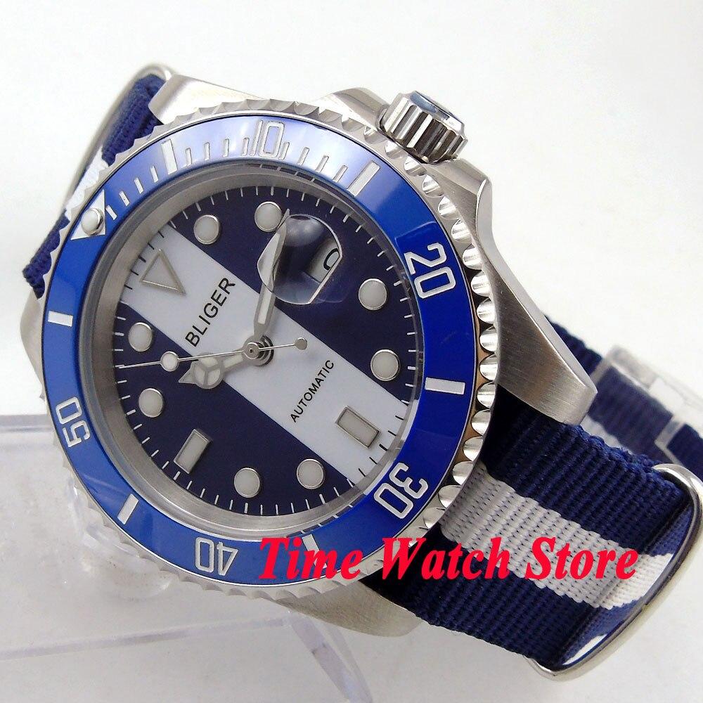 Bliger 40mm cadran bleu blanc lunette en céramique lumineuse mouvement automatique montre 144