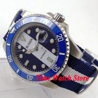 Bliger 40mm mostrador luminoso azul branco cerâmica moldura relógio movimento Automático 144