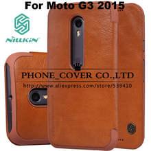 Nillkin Подлинная Кожаный Бумажник Case cover Для Motorola MOTO G3 G 3-я Gen 2015 пакета(ов) кожи случаи + HD/Стеклянный экран протекторы