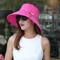 2017 Новое Лето Вс Шляпы для Женщин Дамы Широкими Полями Большой брим Пляж Cap Отпуск Тур Hat Кнопки Бантом Холст Шапки S5650