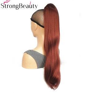 Image 3 - StrongBeauty extensiones de cabello con Clip para cola de caballo, largo sintético, recto