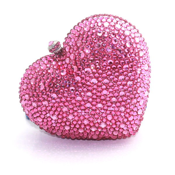 Pink Crystal Heart Shape Evening Bags Women Metal Clutches Bags Bridal Wedding Handbag Day Clutch Bags(1014-BM ) mini metal crystal diamond day clutches evening bags wedding dress bridal handbag clutch bags