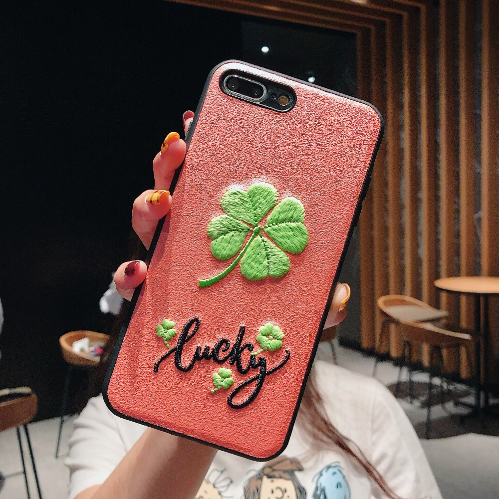 For iPhone X XR XS Max Cases Embroidered lucky four leaf clover with luminous Shell For iPhone 6 6S 7 8 Plus Cover Phone Cases in Fitted Cases from Cellphones Telecommunications