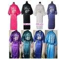 Das Mulheres livres do Transporte de Cetim de Poliéster Borde Bamboo & Crane Kimono Robe Vestido Com Cinto, Muitas Cores S M L XL XXL XXXL ZS01