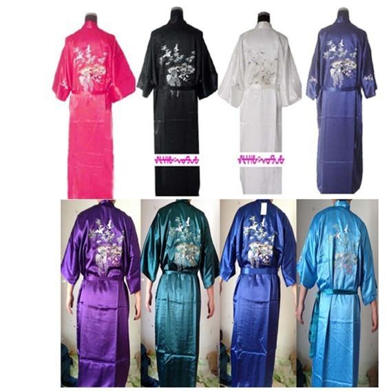 Mujeres libres Del Envío de Satén de Poliéster Bordar Bambú & Crane Kimono Robe Vestido Con La Correa, Muchos Colores S M L XL XXL XXXL ZS01