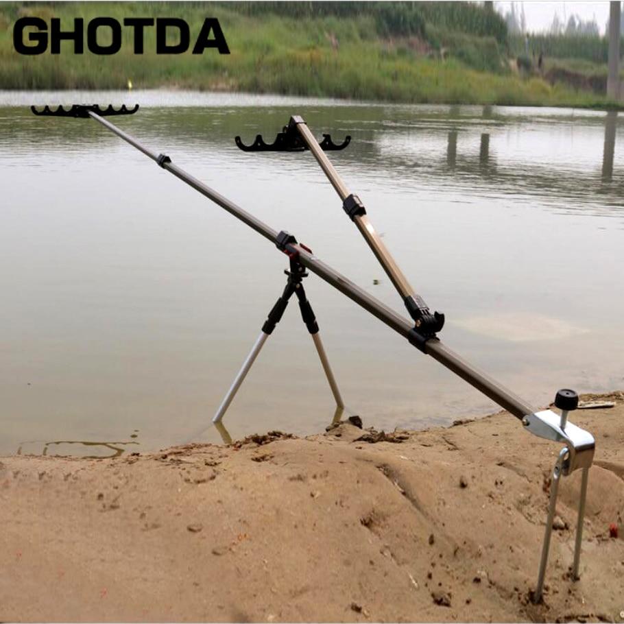 De aleación de aluminio multifuncional telescópica caña de pescar a mano Barra de soporte para cañas de pescar