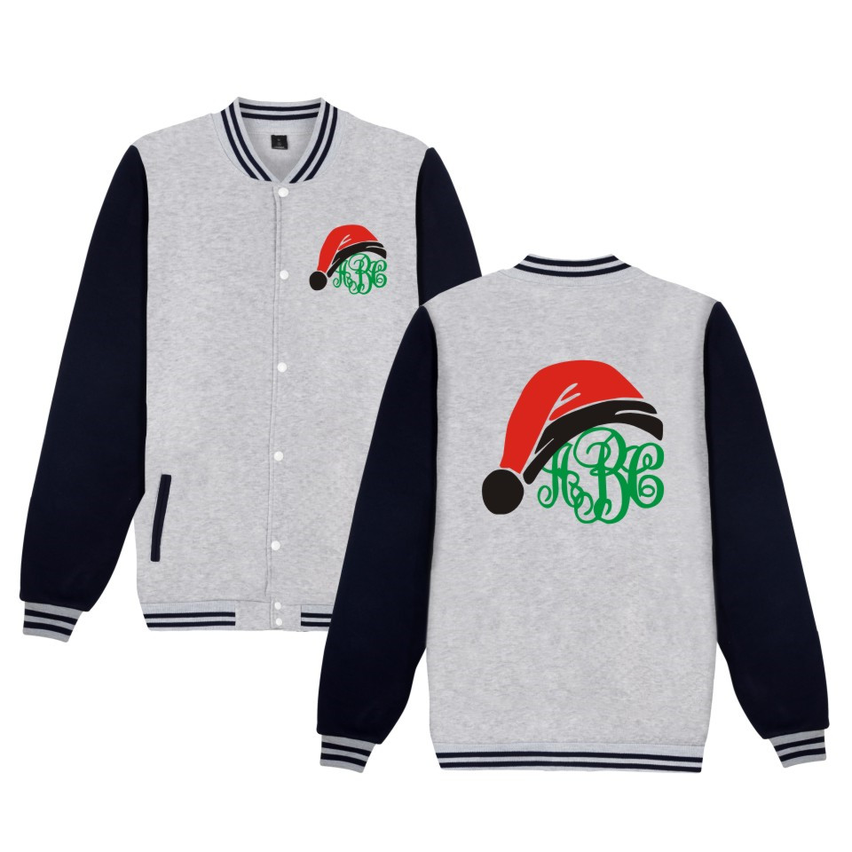 New Arrival Christmas Gift Jacket Funny Print Christmas Baseball Uniform Men Women Clothing child kids gift