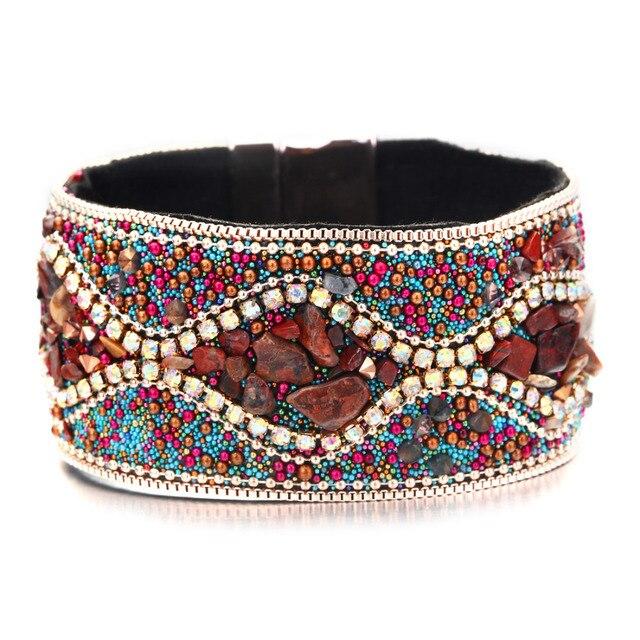 Women Leather Bracelet Unique Mixed Natural Stones Charm Wide Flannel Wrap Bracelets Handmade Boho Bracelet Dropship Bangles