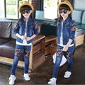 Kids Sets Children's Denim Jacket Coat+Long Pants Outfits Suits Clothing for Teenagers Girls Spring Summer Floral Coats Trousers