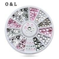 New Mix Sizes Crystal Pink Grey 3d Glitter Nail Art Tips Rhinestone DIY Nail Decoration Wheel