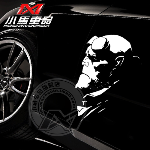 Car styling cool design hellboy style die cut vinyl stickersfashion car body decor reflective