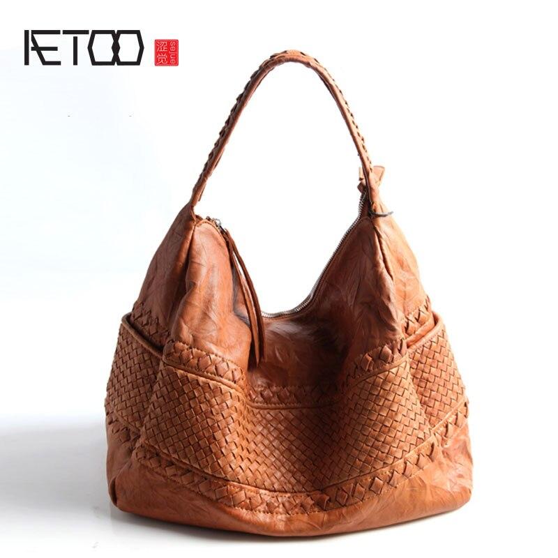 AETOO Puro couro Europa e nos Estados unidos Japão Coréia Do Sul moda retro artesanal tecelagem bolsa de ombro único