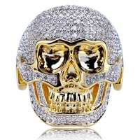 Delicate Mens Womens Full CZ Iced Out Copper Zircon Ring Cool 3D Horror Skull Finger Rings Size7 11 with Jewelry Gift Box