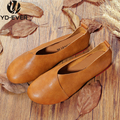 new genuine leather women flats Spring Autumn soft Loafers Woman Handmade Shoes fashion retro girl casual Shoes