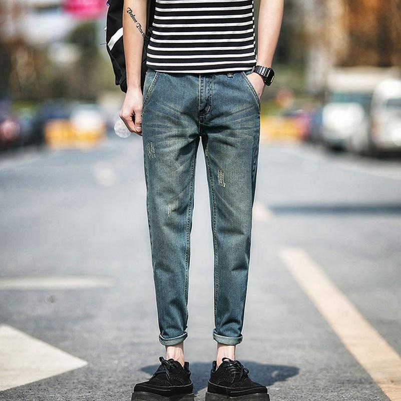 ФОТО Ankle Length Vintage Denim Harem Pants Hole Plus Size Fashion Jeans for Men Loose Leisure All-match Jeans Homme