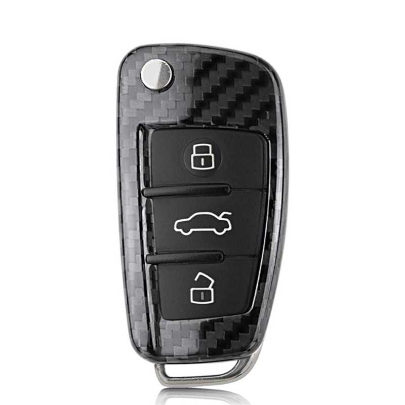 Teeze nouvelle marque de haute qualité nouvelle vraie Fiber de carbone Auto à distance Flip clé Fob titulaire peau coque étui pour Audi série