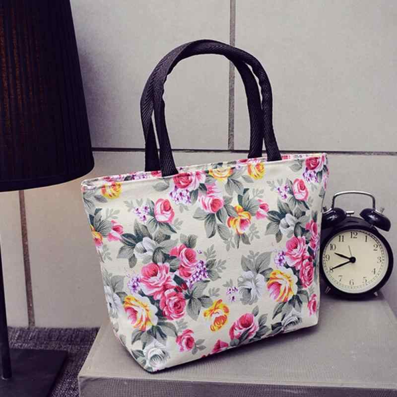 Floral Impresso Sacos de Compras Grande Capacidade de Lona Única Fêmea Mulheres Sacos De Praia Da Lona Ocasional Bolsa Feminina