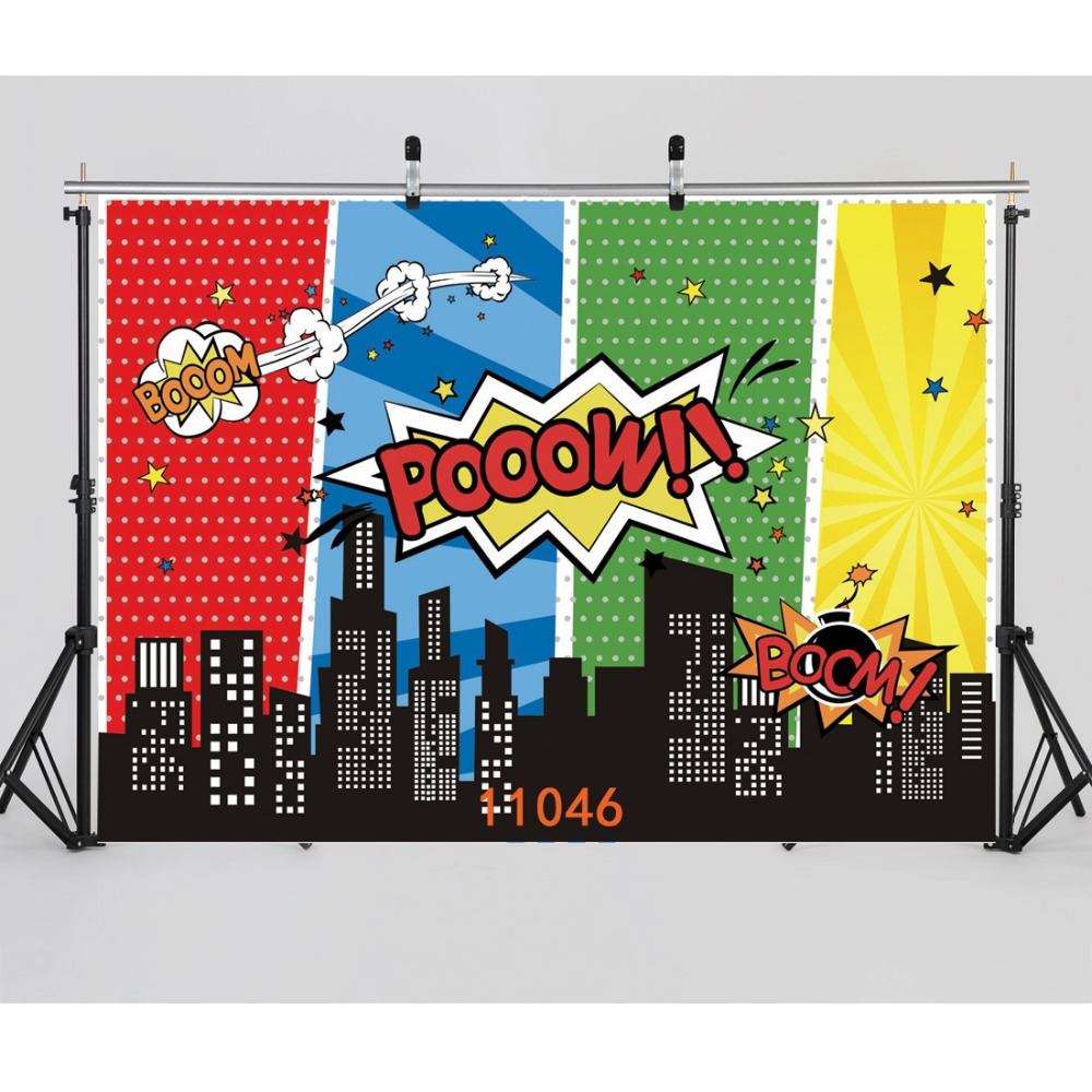 SJOLOON super hero city scene photography background baby phot0graphy backdrops party background for photocall studio vinyl prop