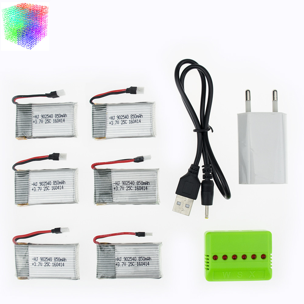 Syma X5C rc Lipo battery 6pcs 3.7V 850mAh and charger with plug for x5 x5sw x5sc cx30 cx30w Helicopter Quadcopter drone part rc drone lipo battery 850 mah li po battery for syma x5c x5sw with 5in1 charger box for x5 x5a x5sc x5sw mjx x705c x6sw
