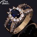 Wholesale vintage female ring Blue stone women ring cz IP Gold plated CZ diamond engagement rings