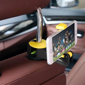 Автомобильный крючок на подголовник 2 в 1 с держателем для телефона, вешалка на спинку сиденья для сумки, складные зажимы из ткани для продук...