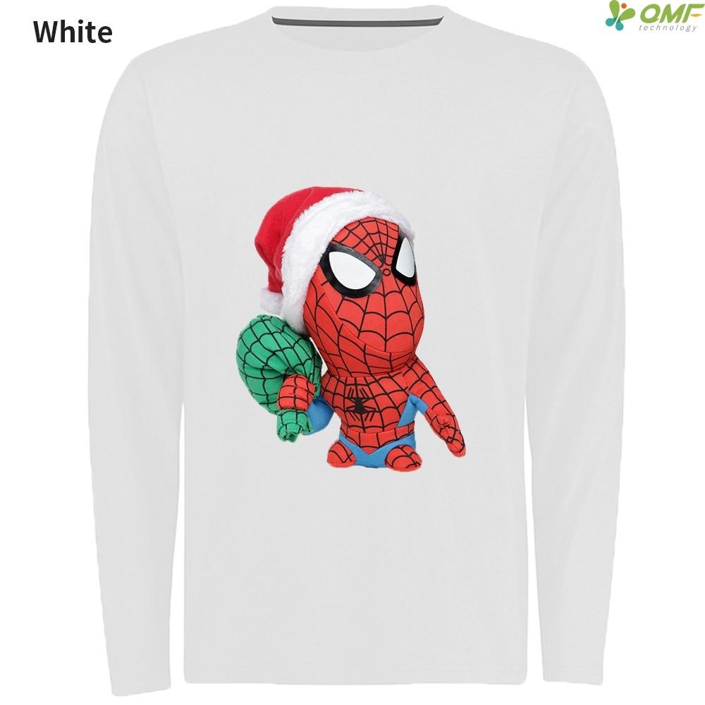 34fa90ed Santa Spider Man Print Sports Tshirt Men Gym T Shirts O-neck Merry Christmas  Skateboarding T-Shirts Long Sleeve Running T-shirt