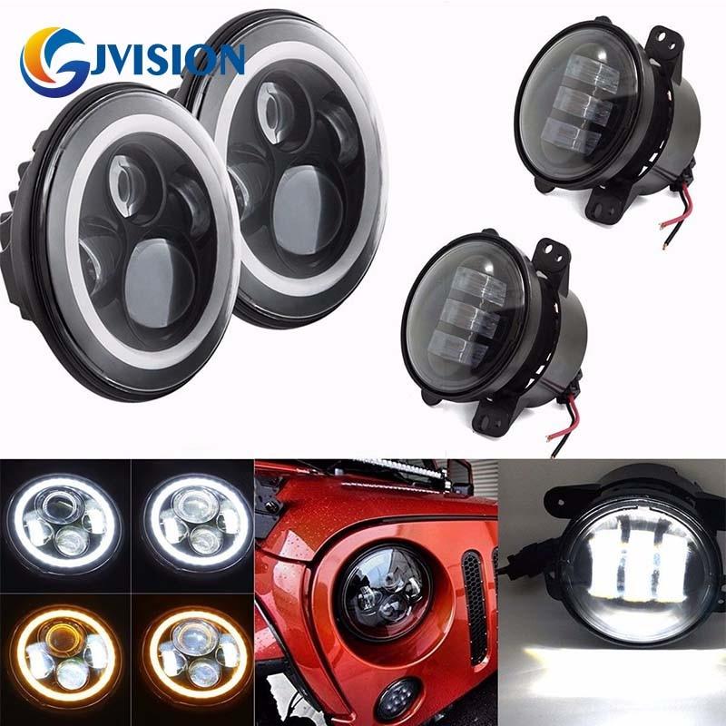 Black 7 inch White/Amber Halo Turn Signal LED Headlights and 4