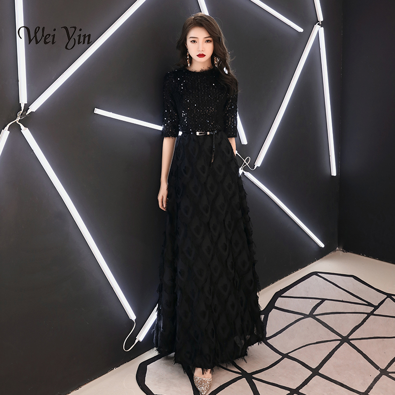 Wei Yin 2020 New Evening Dresses The Bride Elegant Banquet Black Half Sleeves Lace Floor-length Long Prom Party Gowns WY1342