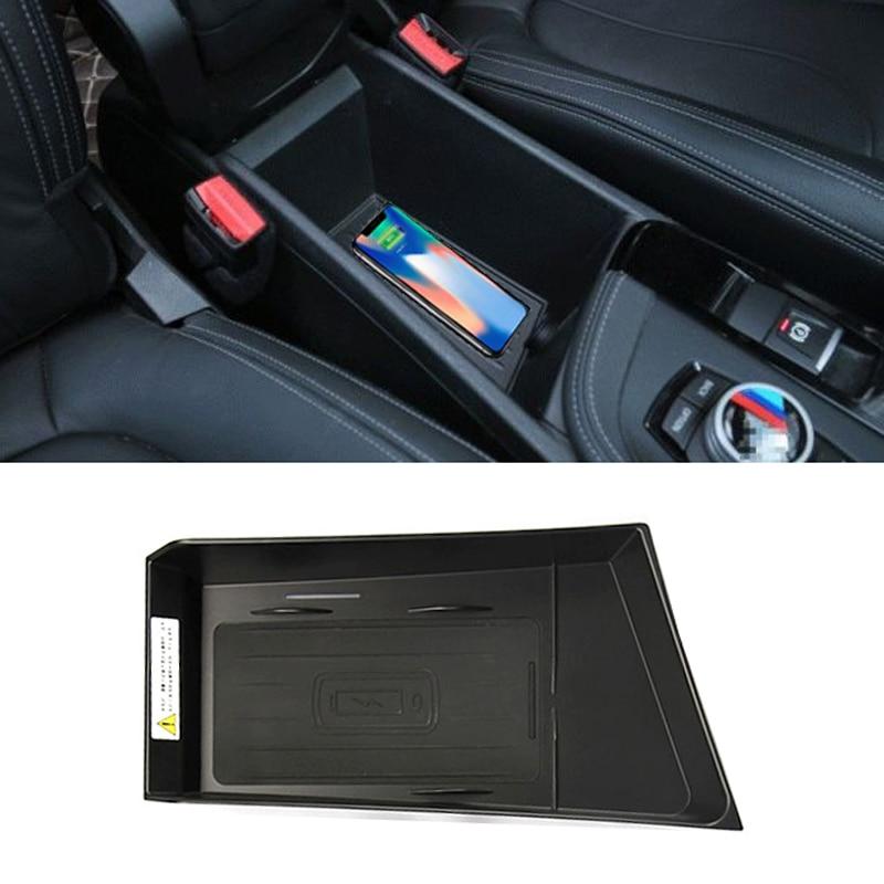 Pour BMW X1 F48 X2 F39 2016-2019 QI chargeur de téléphone sans fil chargeur rapide boîtier de charge console centrale accessoires décoratifs pour iPhone 8