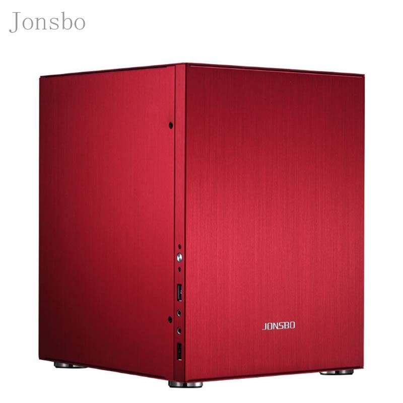 Jonsbo C2 Mini PC de bureau coque d'ordinateur USB3.0 petit châssis en alliage d'aluminium rouge C2S HTPC ITX haute qualité