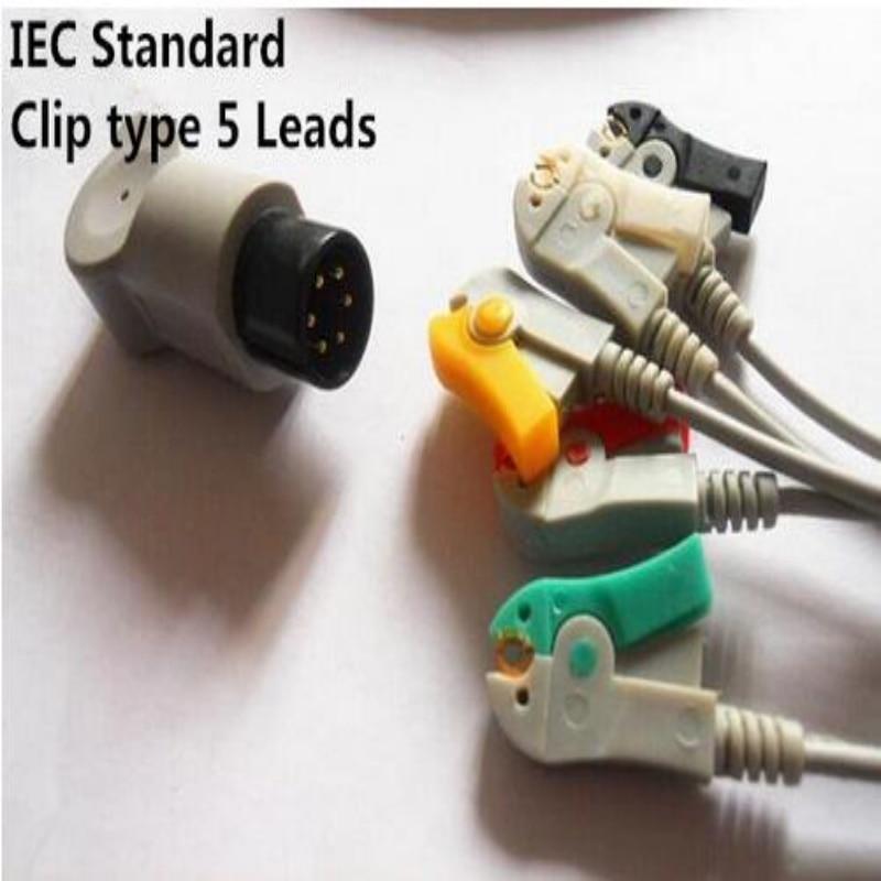Бесплатная доставка один кусок ЭКГ Leadwire 5 проводов для Mindray, Goldway, Edan, монитор использования, пациента монитор ЭКГ кабель, клип конец ТПУ, IEC