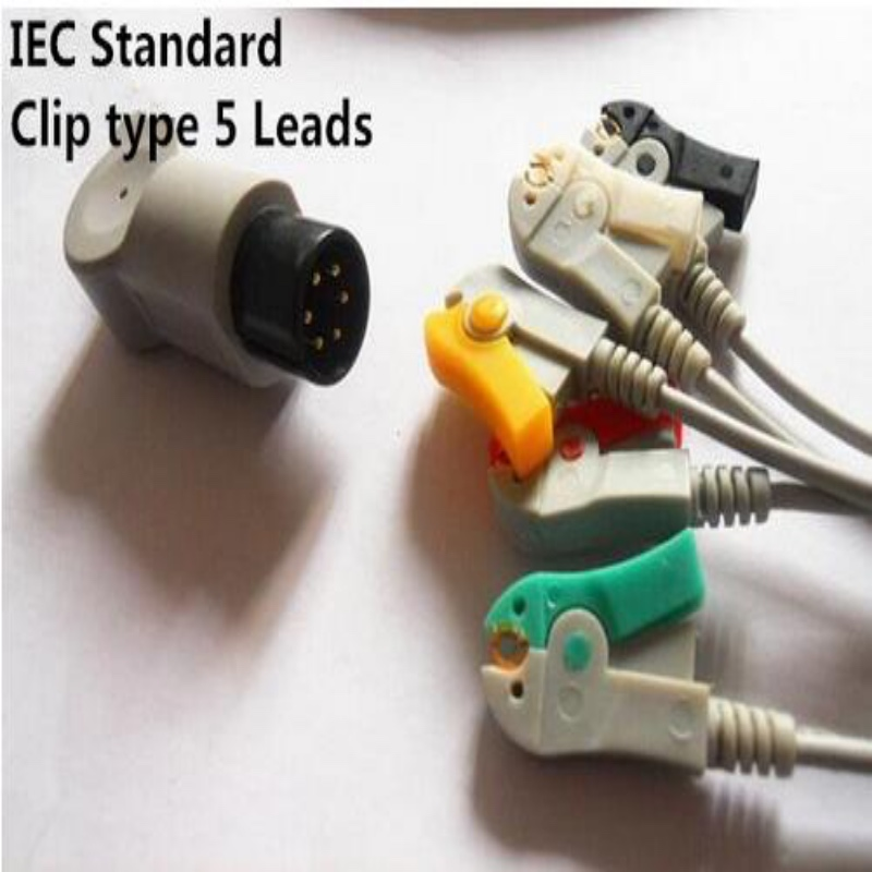 Бесплатная доставка один кусок ECG Leadwire 5 проводов для Mindray, Goldway, Edan, использование монитора, терпеливый монитор ECG кабель, Зажим Конец ТПУ, IEC