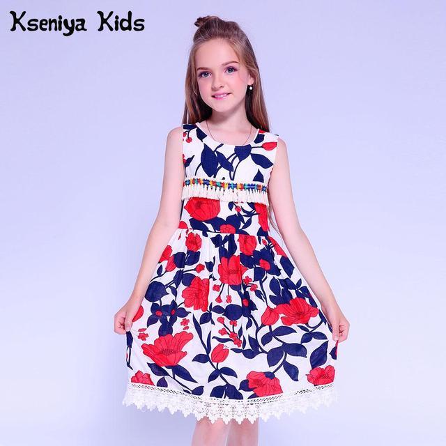 Kseniya Kids Baby Girl Lace Dress Tassel Print Flower Girl Dresses Girls Summer Dress Princess Party Dresses For Girls 10 12