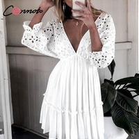 Conmoto Elegant Vintage Lace Short Dress Women Sexy V Neck White Summer Dress Cotton Hollow Out Casual Holiday Dress Vestidos