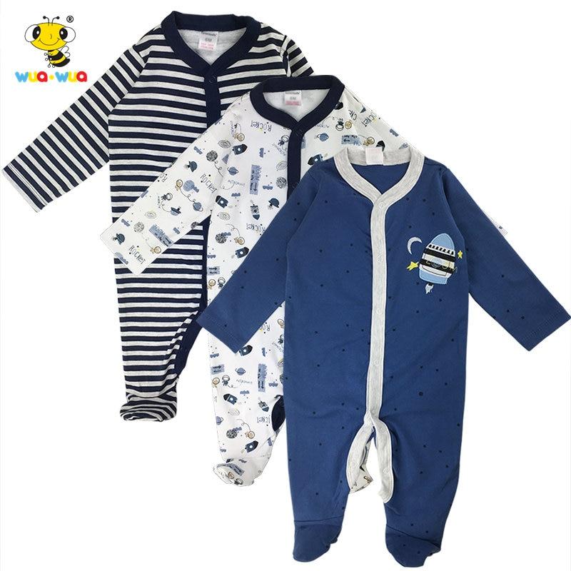 3 Pcs Newborn Kid Baby Boy Girl Long Pants Romper Infant Cartoon Long Rompers Bebe Jumpsuit Cotton Blend Children Clothes