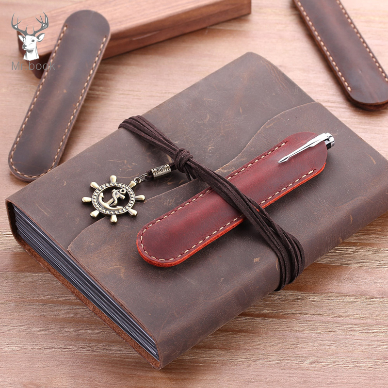 Vintage Style Handnote Genuine Leather Pen Pouch Holder Single Pencil Bag Cowhide Pen Case For Rollerball Fountain Ballpoint Pen