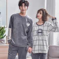 BZEL New Winter Flannel Cartoon Bear Warm Couple Pajamas For Women And Men Long Sleeve Sleepwear Lovers' Clothes Pyjamas Pijamas