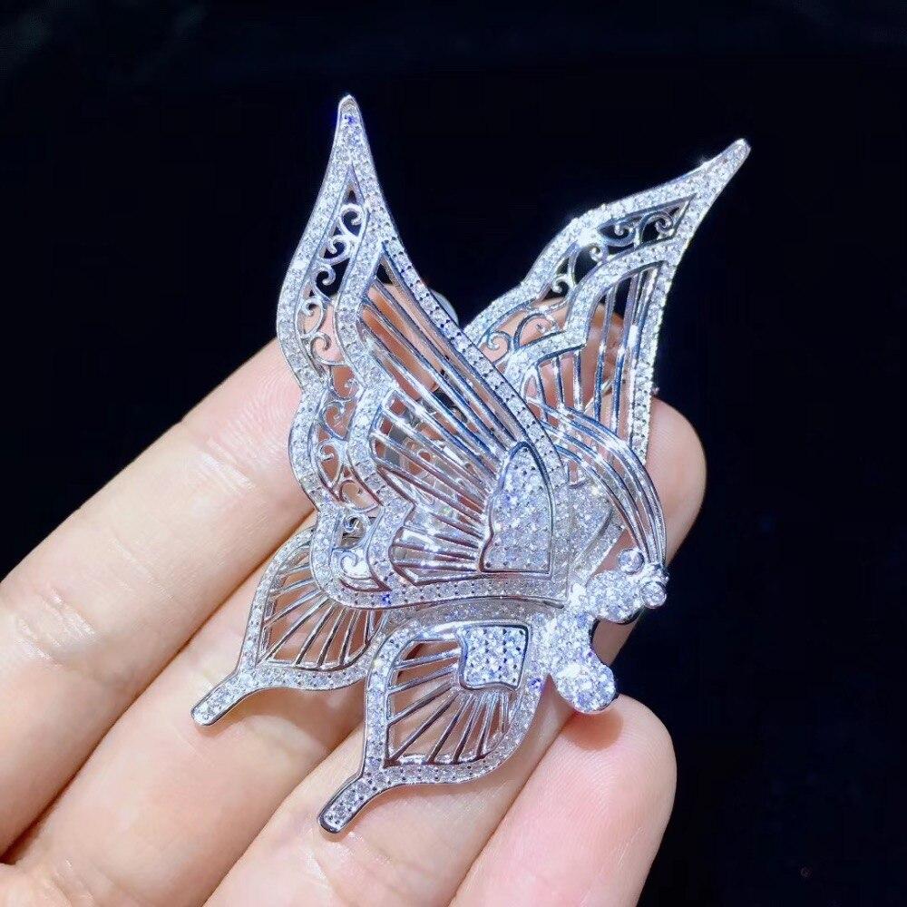 Broche papillon blanc insecte broches 925 argent sterling avec zircon cubique mode femmes bijoux 37*68 MM pendentif double usage - 2