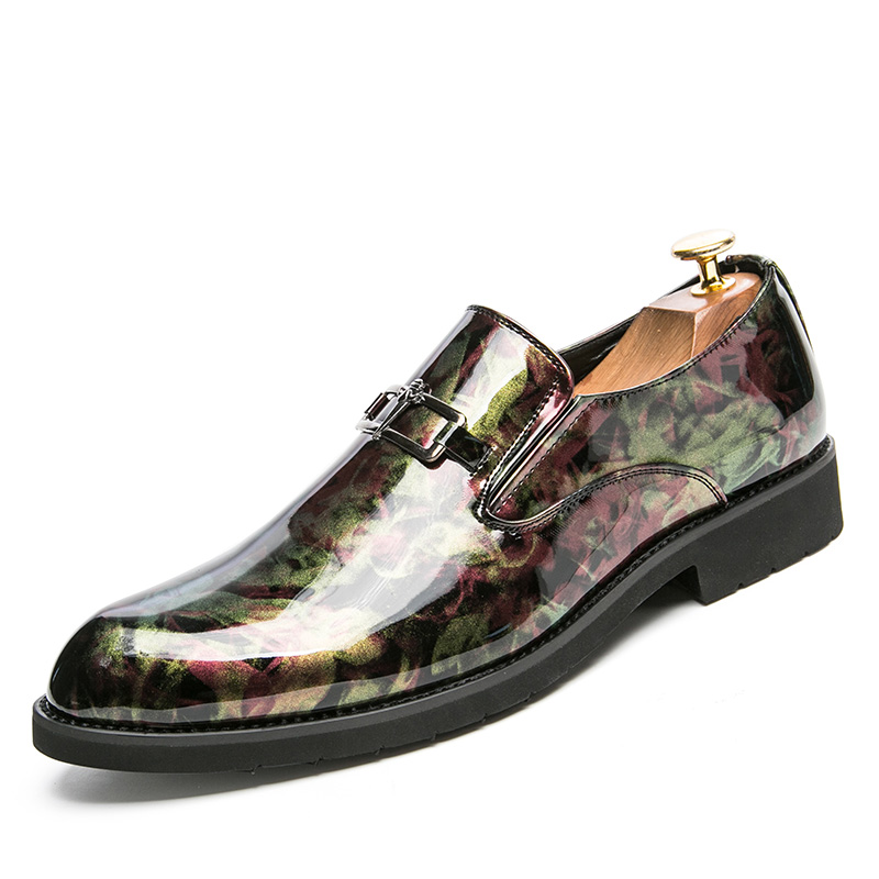 British mens fashion wedding party wear patent leather shoes breathable printed oxford shoe slip-on teenage loafers sapatos male цены онлайн