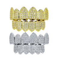 2 Pairs 18K Gold Plated Micro Zircon Hip Hop Teeth Caps Top Bottom Set With Silicone