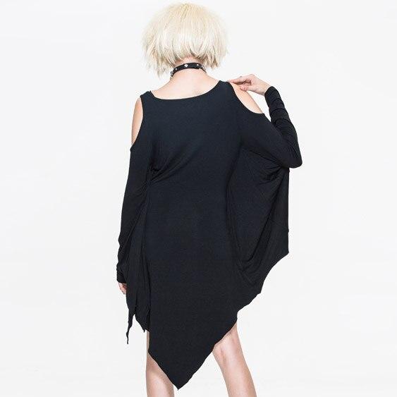 Steampunk Manches Goth Printemps Mode O Femmes Court Extensible 2017 Dress cou Été souris Noir Diable Chauve STqvw8xI