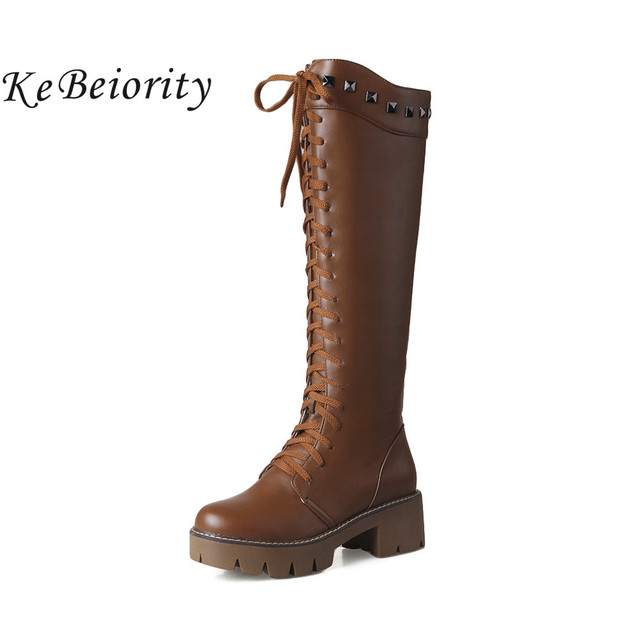 a6e68338fb2 KEBEIORITY White Brown Black Boots Women Chunky Heel Square Heel Platform  Boots Lace Up Knee High Gladiator Heels Boots 2018