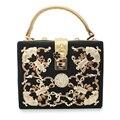 Votación de diamantes de oro de bloqueo de lujo bolso de noche bolsa de embrague del partido bolso de las mujeres bolsa (C028)