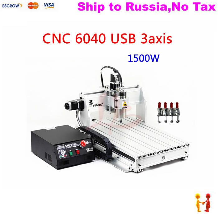 (NO TAX TO Russia) Made in china high quality cnc machine 6040 3axis router Ball screw with 1500w spinlde