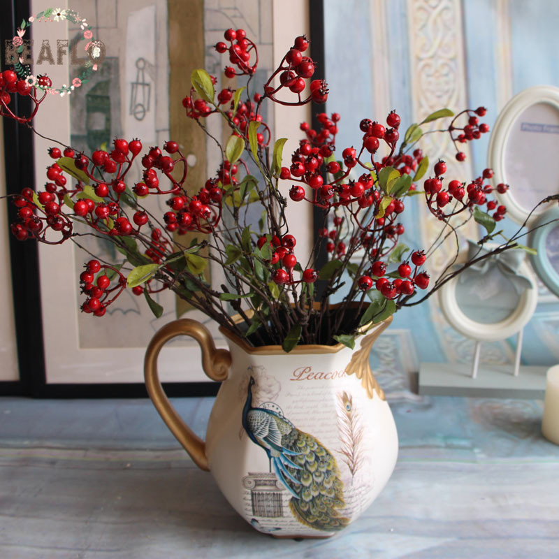 1PC DIY Fake Fruit Berries Artificial Pomegranate Cherry Bouquet For Christmas Home Decorative 3 Colors