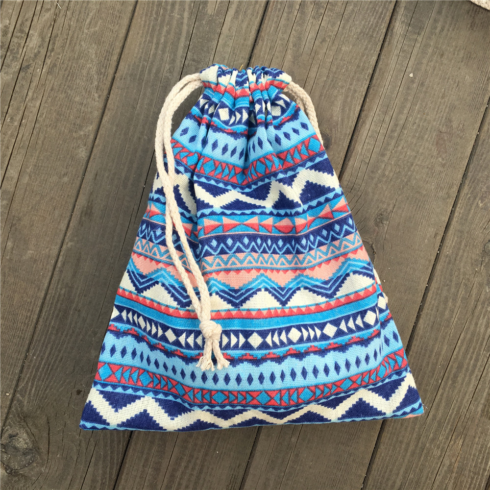 1pc Cotton Linen Drawstring Party Gift Bag Coin Phone Key Pouch Blue Zigzag Line YILE812B