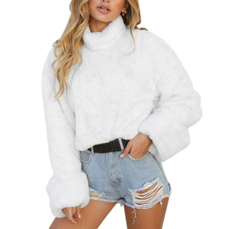 cb8ead463f7 ... Turtleneck Sweater Women White Fur Winter Fall Tops Long Sleeve Soft  Warm Loose Sweaters Pullovers Knitted ...
